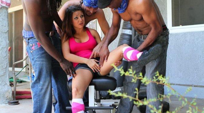 Ally Style in  Devilsfilm GangLand Cream Pie #22, Scene #02 September 22, 2011  Interracial, Natural Tits