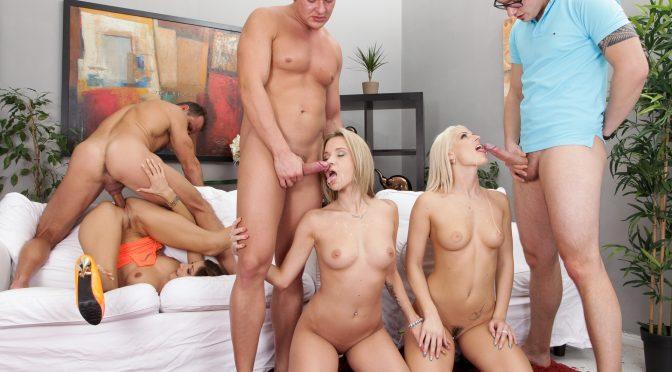 Angel Piaff in  Doghousedigital Swingers Orgies #07, Scene #03 March 30, 2014  Brunette, Blowjob