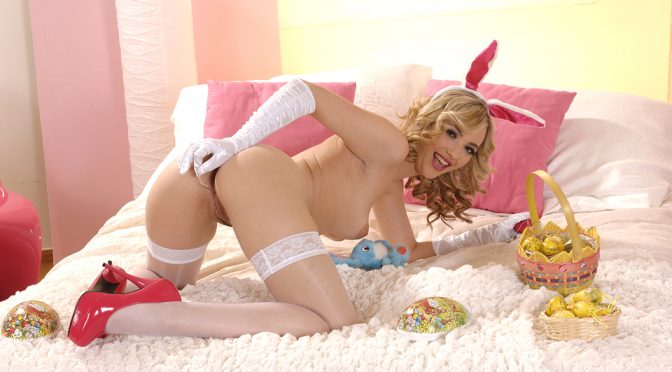 Sophia Knight in  1by-day Easter Bunny Gets Buzzy! April 01, 2013  High Heels, Leggings