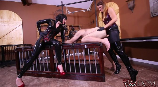Jean Bardot in  Clubdom Rubber Goddesses Peg Their Bitch January 02, 2018  Pegging