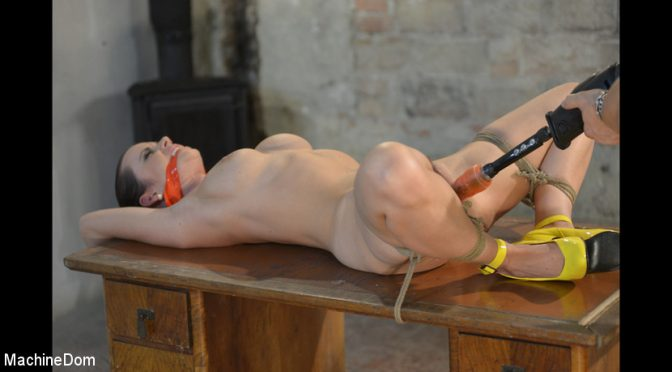 Cindy Dollar in  Machinedom Cindy Bound, Gagged, and Machine-Fucked June 14, 2017  Straight, Rope Bondage