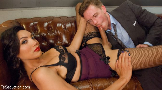 Yasmin Lee in  Tsseduction Devastatingly Gorgeous Secretary Punishes Sexist Boss Pig! May 20, 2015  Blowjob, TS Fucks Male
