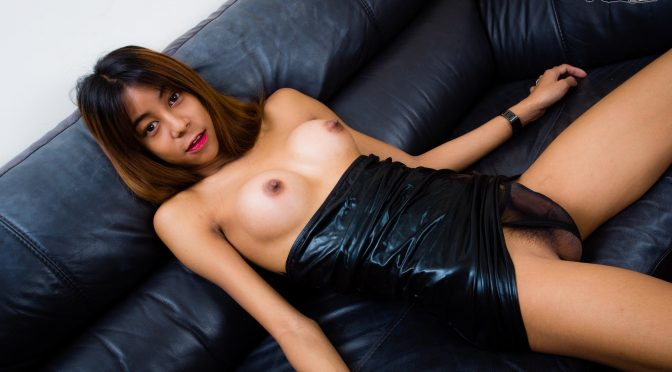 Min in  Ladyboy Min Strokes On The Couch! December 14, 2017  Ladyboy