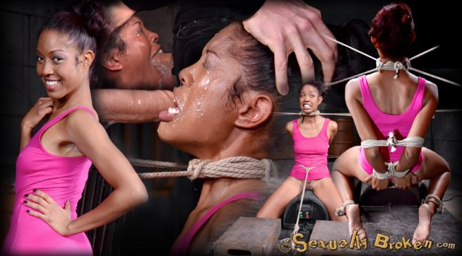 Lotus Lain in  Sexuallybroken Eager Lotus Lain bound on sybian with drooling deepthroat on big dick, total sexual destruction! March 09, 2015  Ebony Kink, Brown Eyes