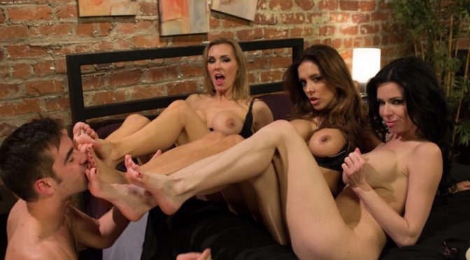 Francesca LeLogan Pierce in  Footworship 3 Legendary MILF Superstars and the Pizza Boy! February 22, 2013  Pussy Eating, Slave
