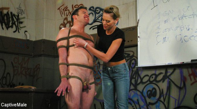 Audrey Leigh in  Captivemale FemDomme Audrey Leigh Gives Dick Richards Low Grades October 07, 2017  Bondage, Teacher