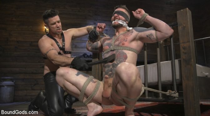 Trenton Ducati in  Boundgods Ripped God Teddy Bryce Fucked and Beaten in Rope Bondage by Hot Stud! January 11, 2018  Blowjob, Gag