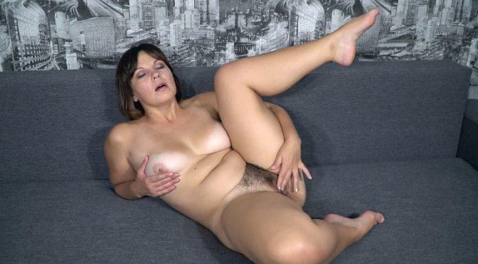 Ellariya Rose in  Wearehairy Ellariya Rose strips and masturbates on her sofa October 07, 2017  Striptease, Curvaceous