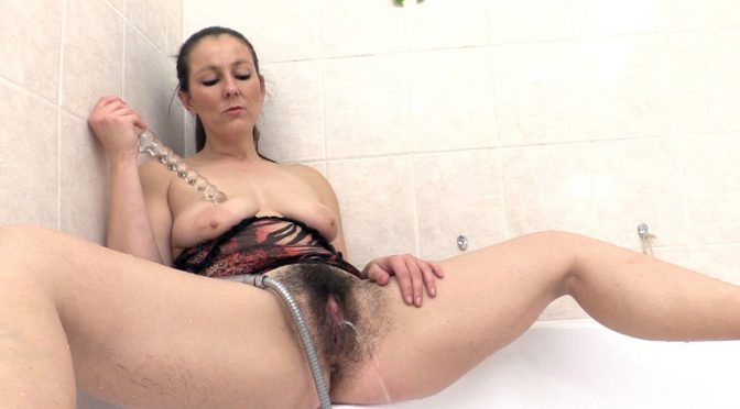 Valentina Ross in  Wearehairy Valentina Ross masturbates in the shower with toy February 03, 2017  Toy Insertions, Curvaceous