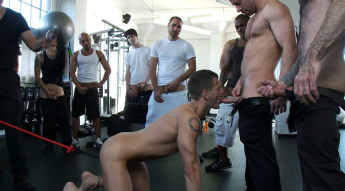 Tristan Jaxx in  Boundinpublic Gym Rat and The Gay Mafia December 17, 2010  Cock And Ball Torture, Ball Gag