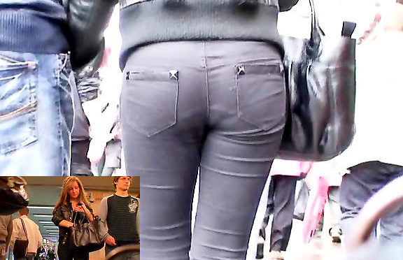 Upskirtcollection Slim blondie in tight black jeans March 11, 2012  Tight Black Jeans