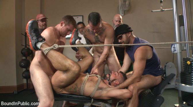 Connor Maguire in  Boundinpublic Horny gym goers dump their loads on a muscled gym rat January 22, 2016  Blowjob, Dildo