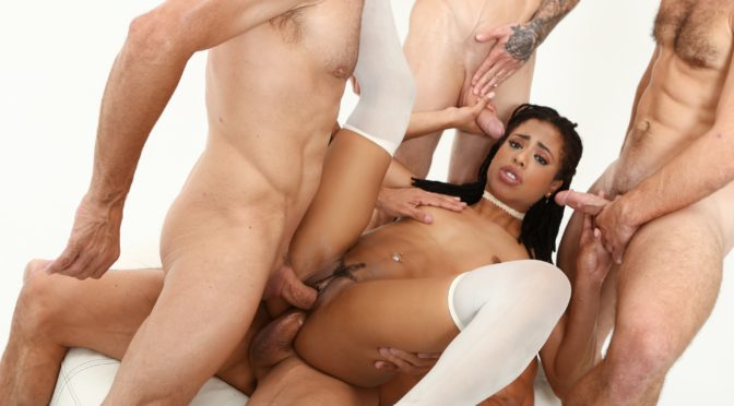 Kira Noir in  Devilsfilm White Out #04, Scene #02 January 29, 2017  Natural Tits, Ebony