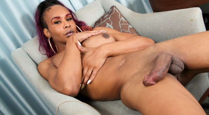 Chyna in  Blacktgirls Chyna Struts Her Huge Cock! November 03, 2016  Transsexual