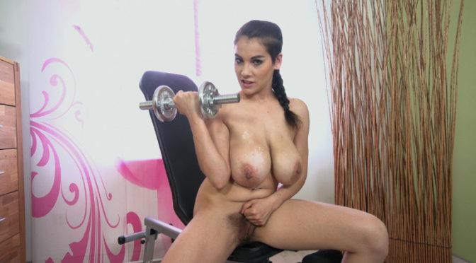 Mischel Lee in  Wearehairy Mischel Lee exercises and strips naked on chair June 22, 2015  Slim, Large Breasts
