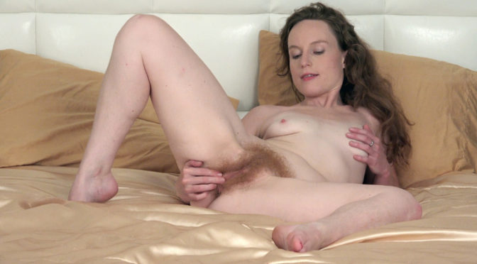 Ana Molly in  Wearehairy Ana Molly strips nude to masturbate in bed August 21, 2017  Hairy Legs, Masturbation