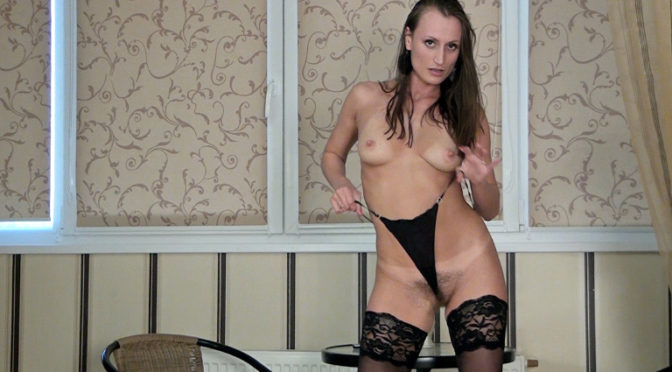 Izolda in  Wearehairy Heels and stockings lead to masturbating with Izolda April 28, 2014  Hairy Ass, Stockings