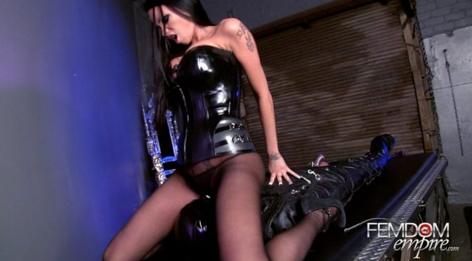 Raven Bay in  Femdomempire Chastised Leather Gimp March 03, 2014  Pussy Worship, Chastity