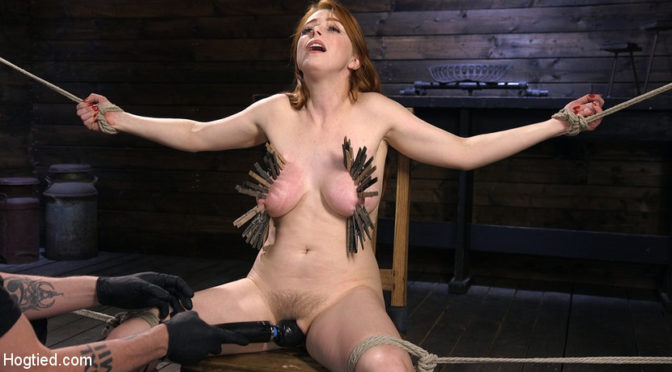 Penny Pax in  Hogtied Red Headed Slut is Bound, Tormented, Double Penetrated and Made to Cum June 07, 2018  Bondage, Ball Gag