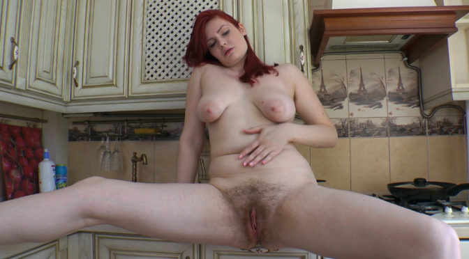 Red Bunny in  Wearehairy Sexy kitchen masturbation with the Red Bunny June 13, 2014  Redheads, Lingerie