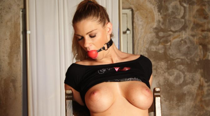 Ally in  BallGagger.com Ally chair-tied ballgagged tit-grabbed September 01, 2016  Rope, Tit-grabbed