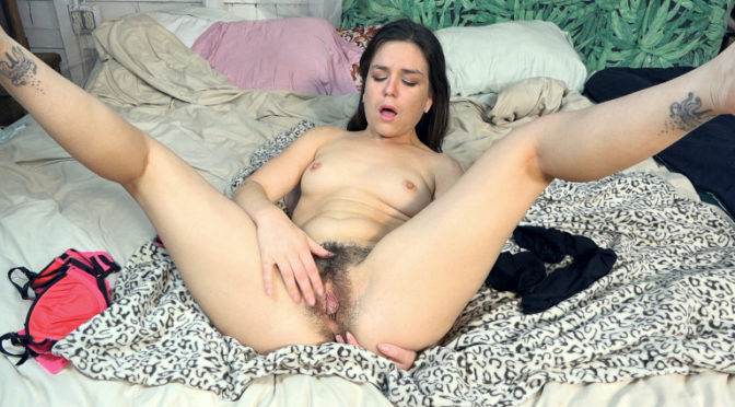 Juliette March in  Wearehairy Juliette March masturbates in bed feeling horny February 08, 2018  Hairy Armpits, Brunettes