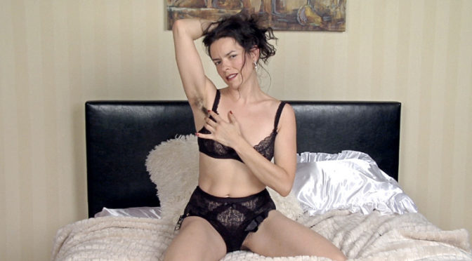 Lucia in  Wearehairy In her finest dress, Lucia tells a tale and strips November 21, 2013  Lingerie, Stockings