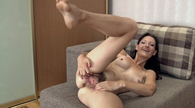 Lulu in  Wearehairy Beautiful Lulu puts on erotic striptease today August 23, 2014  Small Breasts, Brunettes