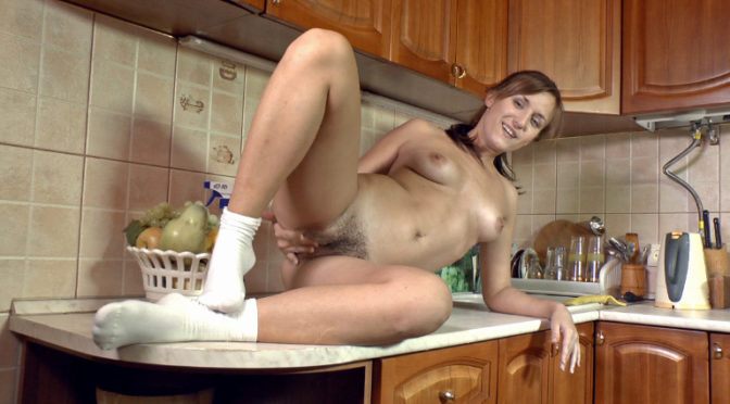 Era in  Wearehairy Hairy girl Era gets turned on by cleaning February 03, 2013  Puffy Nipples