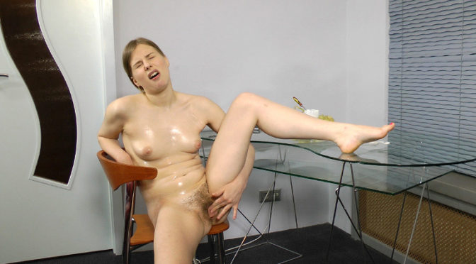Lavin in  Wearehairy Hairy girl Lavin rubs whipped cream all over April 28, 2012  Piercings, Masturbation