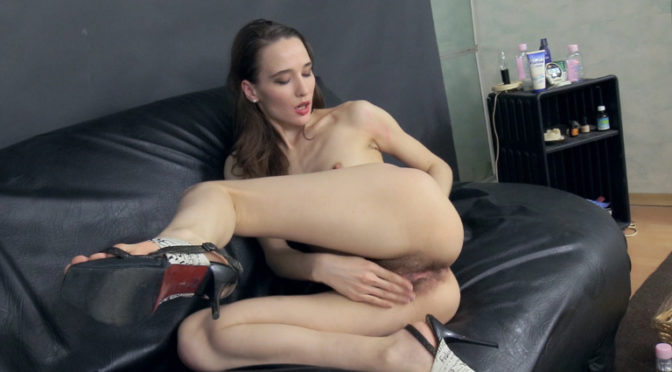 Rose Nore in  Wearehairy Rose Nore oils her body and masturbates on a sofa August 04, 2017  Brunettes, Hairy Ass