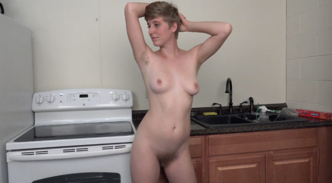 Aurora Odaire in  Wearehairy Aurora Odaire strips naked in her kitchen October 13, 2016  Hairy Armpits, Hairy Legs