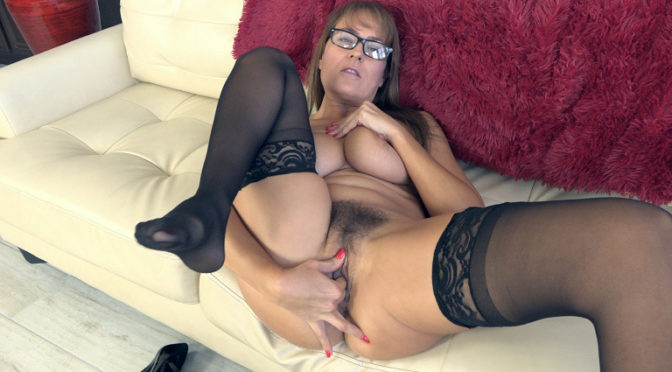 Elexis Monroe in  Wearehairy Elexis Monroe strips and masturbates on her couch November 05, 2018  Curvaceous, Lingerie