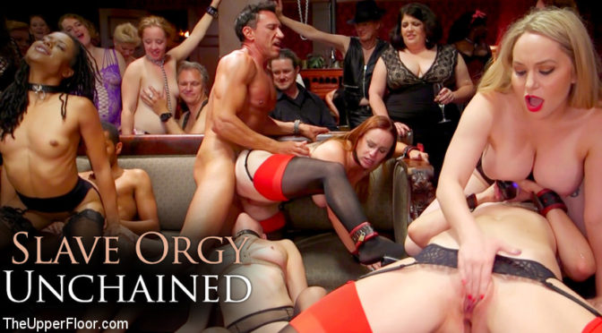 Aiden Starr in  Theupperfloor Slave Orgy Unchained October 04, 2016  Oral Sex, Orgy