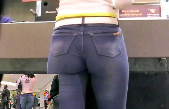 Upskirtcollection Sexy jeans ass in McDonalds July 05, 2012  Denim Girl