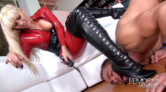 Holly Heart in  Femdomempire Shock Collar Training March 20, 2015  Boot Worship, Ass Worship