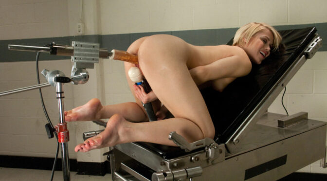 Ash Hollywood in  Fuckingmachines Hot Blond Gymnast Stretched and Fucked By Machines Until She SQUIRTS! November 29, 2011  Blonde, Machine Dildo
