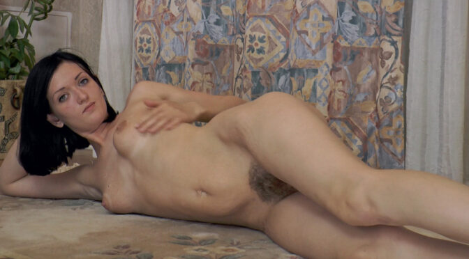 Lara D in  Wearehairy Beautiful stripping and playing with Lara D July 24, 2014  Lingerie, Small Breasts