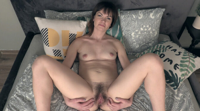 Magda M in  Wearehairy Magda M strips off her black dress in bed March 05, 2019  Hairy Ass, Striptease