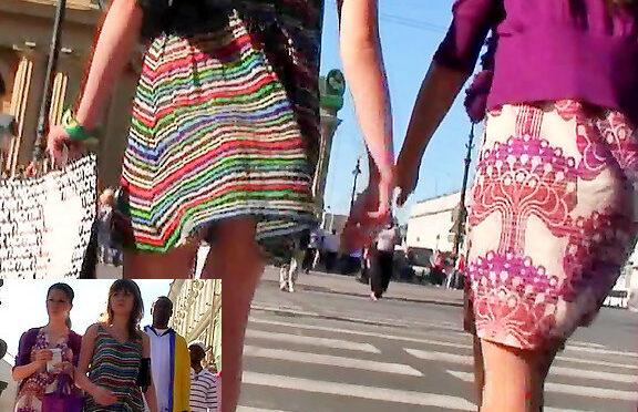 Upskirtcollection Up skirt of striped teens dress December 16, 2011  Voyeur Cam Upskirt