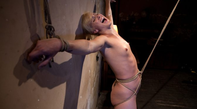 Dylan Ryan in  Hogtied Tall hot blonde on tip-toes hanging from a crotch rope, made to squirt. October 11, 2011  Blonde, Ball Gag