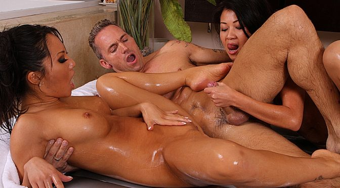 Asa Akira in  Nurumassage Threesome Treatment November 01, 2010  Tattoo, Cum In Mouth