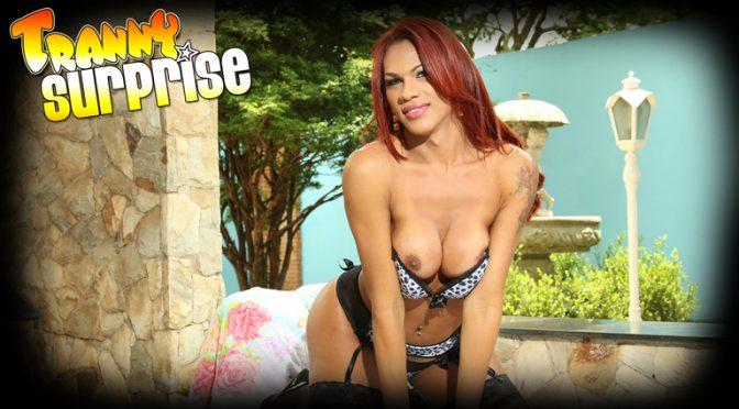 Mylla Pereira in  Trannysurprise Horny Red December 10, 2014  Lingerie, Cum On Tits
