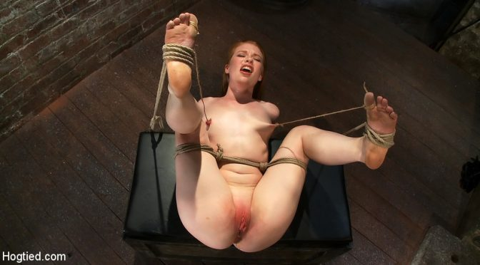 Madison Young in  Hogtied Huge Nipples Tied and Stretched. Double penetrated to Orgasm! July 17, 2010  Bondage, Submission