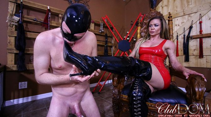 Nina Dolci in  Clubdom Licking Her Boots Clean September 04, 2017  Boot Worship