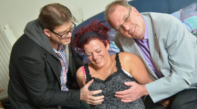 Lea Luestern in  Reifeswinger Tattooed German redhead tastes two cocks in steamy MMF threesome August 16, 2018  MMF, German Couple