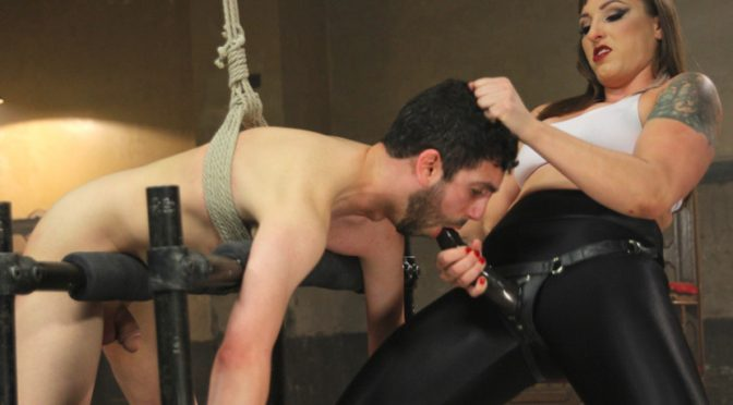 Jay Wimp in  Divinebitches Gorgeous big bicep dominatrix wrestles, smothers & dominates slaveboy! March 20, 2015  Pussy Eating, CBT