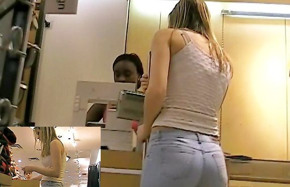 Upskirtcollection Pretty shopper in sexy tight blue jeans July 07, 2012  Tight Ass Jeans